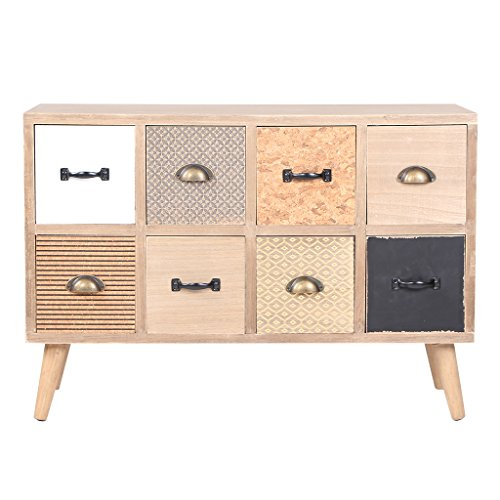 VIVA HOME Cajonera de madera, 91 x 35 x 63 cm, Mueble aparador para salón, comedor o dormitorio, con 8 cajones diferentes, Color claro
