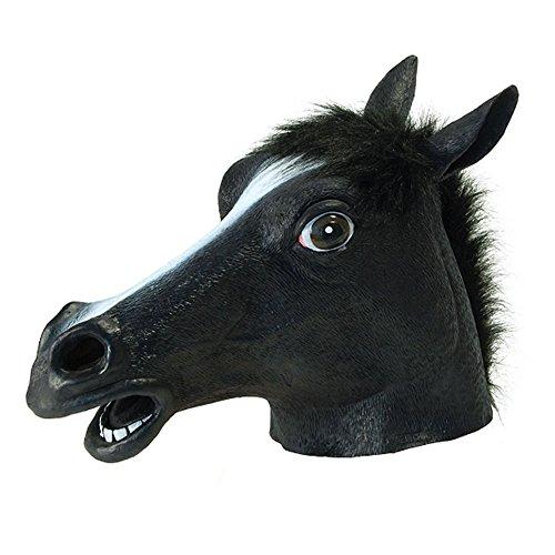 Hacoly Halloween Maske Latex Tiermaske Pferdekopf Pferd Kostüm Pferdemaske für Erwachsene Weihnachten Kleid Party Dekoration - Schwarz