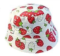 Kids Girls Canvas Cotton Sun Hat Bucket White with Strawberry Age 3 4 5 6