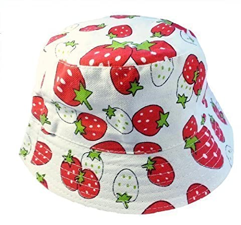 Kids Girls Canvas Cotton Sun Hat Bucket White with Strawberry Age 3 4 5 6