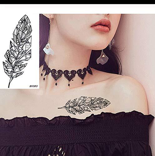 etrische Blatt wasserdichte Tattoos Für Kinder Kinder Schwarz Aufkleber Mädchen Kawaii Temporäre Tätowierung Papier PCS 4 ()