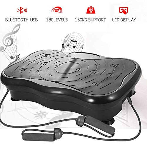 Profi Vibrationsplatte Ganzkörper Trainingsgerät Fitness Vibration Plate rutschfest große Fläche mit Bluetooth USB Lautsprecher/LCD Display & Fernbedienung/Trainingsbändern