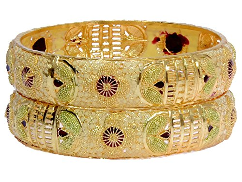 Tradional Fancy Designer Casual Orignal Look Meena Hand Work Party Wedding Wear One Gram Gold Golden Bangles For Women  available at amazon for Rs.325