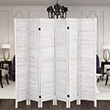 Popamazing Cream Folding 6 Panel Wooden Slat for Room Divider Privacy Screen/Partition/Blind