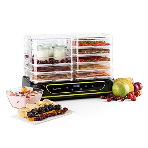 Klarstein Yoyoyofruit Dörrautomat Früchtetrockner mit Joghurtbereiter (2 x 5 Etagen, 550 Watt, LCD-Display, Timer, einstellbare Temperatur, 40-70°C, spühlmaschinenfest) schwarz