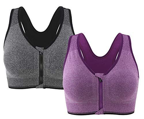 Leezepro Damen Sport BH Vorderverschluss Gepolstert Ohne Bügel Yoga BH fürJoggen Fitness Yoga(Verpackung/MEHRWEG) (X-Large, Grau-Lila)