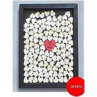 Cuadro de firmas con corazones para bodas. Personalizado.
