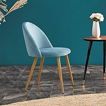 OFCASA Set of 4 Sky Blue Velvet Dining Chairs with Metal Legs Upholstered Kitchen Counter Chair Living Room Chair Home Furniture