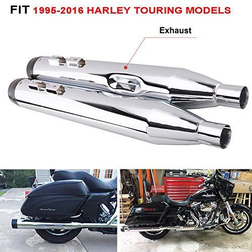 ip-On Schalldämpfer Auspuffrohre mit Black Cut-Spitze für Harley Touring / Bagger-Modelle / Kommode / Road King / Electra Glide / Street Glide / Road Glide / Ultra Classic 95-96 ()