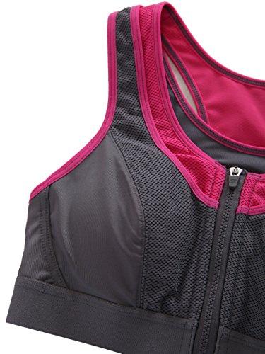 Yvette #6068-High Impact Soutien-gorge de sport Fermeture avant Sans armatures grau - Grey/Rose