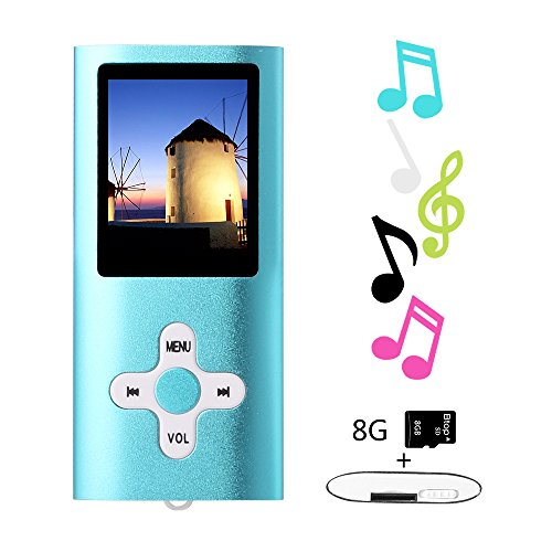 Btopllc MP3-Player, MP4-Player, Musik-Player, tragbarer 1,7-Zoll-LCD-MP3 / MP4-Player, Media Player 8 GB-Karte, Mini-USB-Port USB-Kabel, HiFi-MP3-Player, Voice Recorder Media Player - Blau
