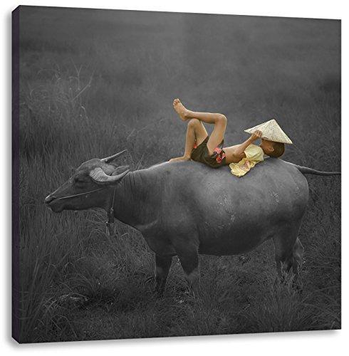 liegendes Kind auf Wasserbüffel schwarz/weiß, Format: 70x70 auf Leinwand, XXL riesige Bilder fertig gerahmt mit Keilrahmen, Kunstdruck auf Wandbild mit Rahmen, günstiger als Gemälde oder Ölbild, kein Poster oder Plakat (Freudige Ausdrücke)