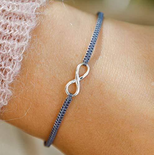 Infinity Armband klein 925 silber Karte Größenverstellbar Infinity Twist