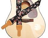 Musik Erste Original Design Rosa Ölweide in schwarz weich gepolsterte Baumwolle & Echtes Leder Gitarrengurt, Banjogurt