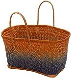korb.outlet Große Strandtasche Afrika/Bunte Einkaufs-Tasche mit Leder-Griffen/Sisal Bast-Korb Multicolor mehrfarbig (Orange-Blau)