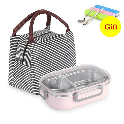 WANG Stainless Steel Lunch Box Leakproof Bento Box Microwavable Storage Container Dinnerware Children Kids School Office,Pink with Bag Microwavable Bento Lunch-box