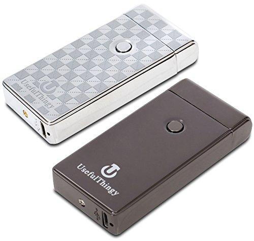 Elektrisches Feuerzeug 2 Pack - USB-aufladbare Arc Tesla Plasma Zigarettenanz&uumlnder - 5 Designs (Schwarz + Silber)