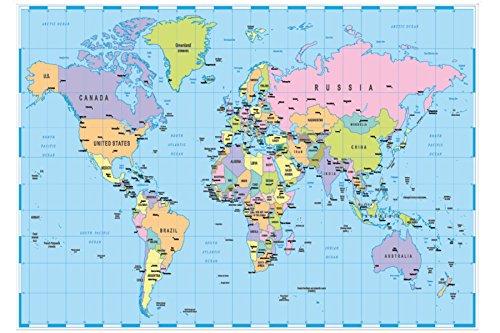 A2Weltkarte Atlas Print 130gsm Papier (Worte Diagramm)