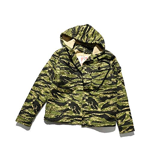YWJHY Vietnam War Gold Tiger Pattern Herren Militär Uniform Lose Plus Samt Verdicken Kaschmir Hoodie,Grün,S