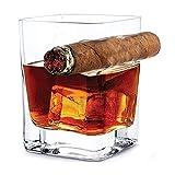 Bicchiere da whisky con portasigari, Old Fashion Wine Bourbon Brandy Birra Liquore Cup 14 OZ 320ml Hand-free per gli amanti di sigarette Cigar per la casa e il bar, Regali per il vino