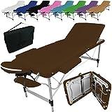 Linxor ® Mesa de masaje plegable 3 zonas de aluminio + accesorios y bolsa de transporte - Nueve colores - Norma CE