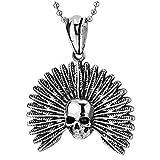 iMETACLII Vintage Indio Americano Pluma Cráneo Collar con Colgante de Hombre Mujer, Acero, Gótico Biker, Bola Cadena 75CM Cadena