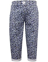 Lil Orchids Girls Flower Print Woven Pant (LO-WVEN-Pant-FLWR-NVY_Navy)