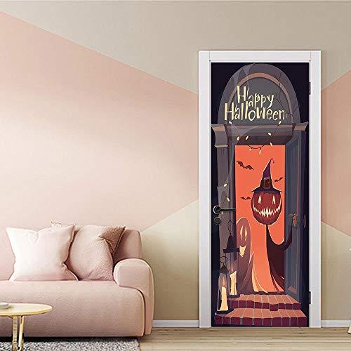 3D Tür Aufkleber Tapete Poster Kürbis Halloween Deko Foto abnehmbar selbstklebend Home Bad Schlafzimmer von Vinyl Wandbehang DIY95x215cm