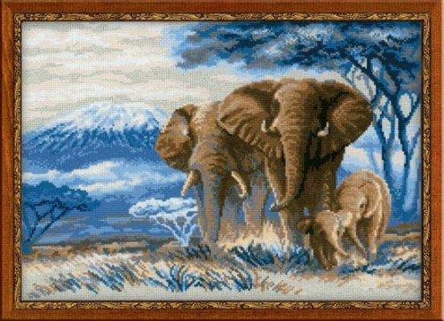 Elefantes en la sabana–Kit de punto de cruz RIOLIS