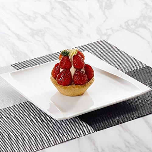 Malacasa, Serie Carina, 12 teilig Set Cremeweiß Porzellan Kuchenteller Dessertteller Frühstücksteller 8,25 Zoll / 20,5x20,5x2cm für 12 Personen