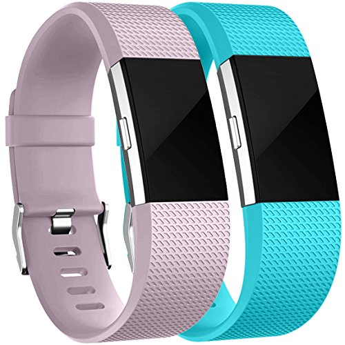 HUMENN Für Fitbit Charge 2 Armband, Charge 2 Armband Weiches Silikon Sports Ersetzerband Fitness Verstellbares Uhrenarmband für Fitbit Charge2 Small Lavendel+Teal