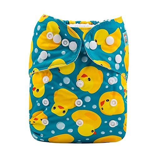 Alvababy Elastic Microseude Pocket Diaper with 5 Layered Charcoal Bamboo Insert (Duck)