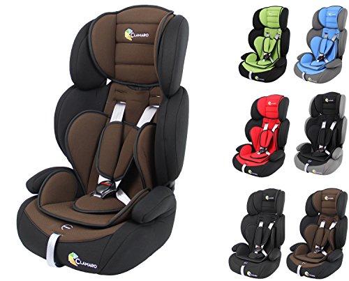 Clamaro 'Guardian 2018' Kinderautositz 9-36 kg Kopfstütze verstellbar mitwachsend, Auto Kindersitz für Kinder von 1-12 Jahre, Gruppe 1/2/3, ECE R44/04, Farbe: Schwarz Braun