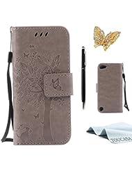 Microsoft Lumia 650 Nokia N650 Hülle,TOUCASA Lederhülle PU Leder Flip Tasche Case Katzen und Bäume Muster Handyhülle für Nokia Lumia N650 + 1 x Eingabestift & Glitzer Staub Stecker