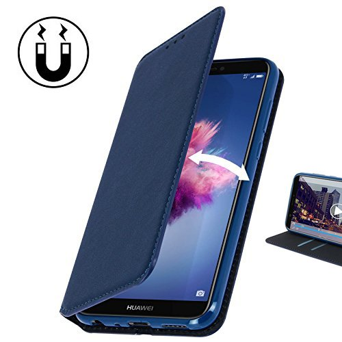 Huawei Y6 2018 Hülle AURSTORE Handyhülle Huawei Y6 2018 Tasche Leder Flip Case Brieftasche Etui Schutzhülle für Huawei Y6 2018 (BLAU)