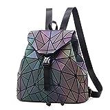 Nevenka Zaino Donna Borsa a Spalla Geometrico a Rombo con Colori Luminosi Borse Coulisse Zainetto Backpack alla Moda, Grande Quadrato Geometrico (luminoso 1)