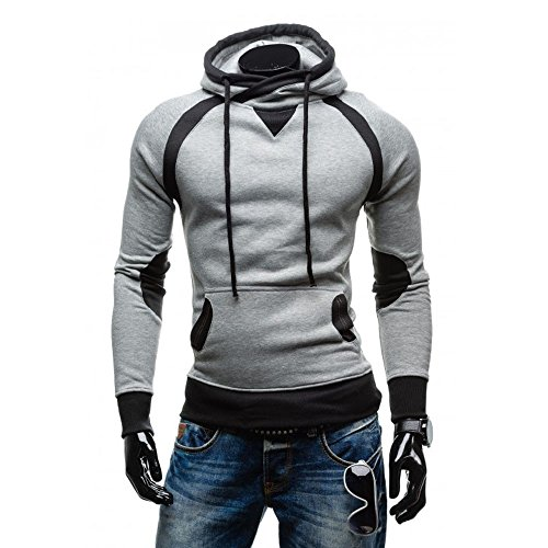 VECDY Herren Bluse,Räumungsverkauf-Herren Männer Winter Slim Hoodie Warm Pullover Sweatshirt mit Kapuze Mantel Outwear Lässiger Kapuzenpullover(Grau,46