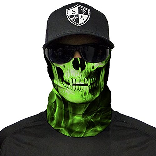 A.S.98 SA Fishing Company Face Shield Sturmhaube *viele Verschiedene Designs* Multiunktionstuch Maske Fishing Schal Bandana Gesichtsmaske Halstuch Ski Motorrad Paintball Maske (Skull Tech Green Crow)