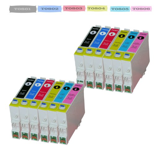 Preisvergleich Produktbild 12 x Tintenpatrone für Epson (T-0807) T-0801 ,  T-0802 ,  T-0803 ,  T-0804 ,  T-0805 ,  T-0806 mit Chip kompatibel