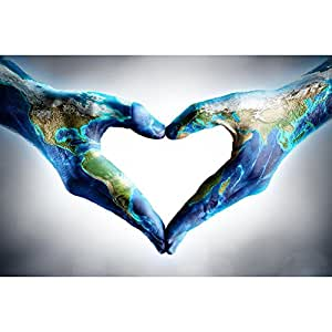 ArtzFolio Hands Shaped Heart With World Map - Extra Large Size 44.9 inch x 30.0 inch - UNFRAMED PREMIUM MUSEUM-GRADE CANVAS Wall Paintings : DIGITAL PRINT Wall Posters Artwork like Hand Paintings : Home Interior Wall Décor Photo Gifts & Decorative Paintings for Bedroom, Living Room, Drawing, Dining Room, Kitchen, Office, Reception, Bathroom, Outdoor, Gallery, Hotels, Restaurants, & Balcony : Conceptual : Photography