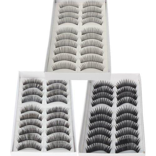 30 Pairs Black Long & Thick Reusable False Eyelashes Fake Eye Lash for Makeup Cosmetic - 3 Kinds of Style by Nails gaga by Nails gaga
