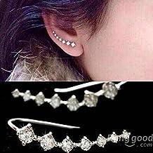 [Envio GRATIS] Plata Siete piezas Cubic oído Rhinestone Pendientes Cuff // Silver Seven Piece Cubic Rhinestone Crystal Ear Cuff Earrings
