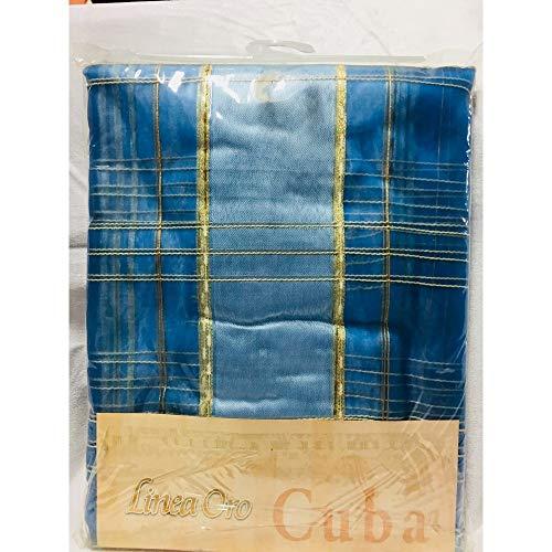 TOMASELLI MERCERIA Coppie Tende a Pannelli confezionate con asole Velo Organza Cuba Disegno Quadri Larghezza 140x290 Altezza Centimetri Linea Oro - Turchese