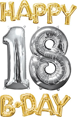 amscan 3594401 Folienballon Happy B-Day, 18