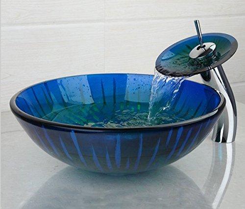 Gowe Waschbecken Wasserhahn Set handbemalt Glas-Gefäß Vanity Schüssel Victory Style Schiff Bar mit Pop-Up Ablauf (Style Vanity Set)