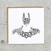 Batman tipografía tarjeta de felicitación–palabras, Joker, espantapájaros–gracias, buena suerte o tarjeta de cumpleaños