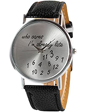 Unisex Armbanduhr Fun Trend Uhr who cares i´m already late lustig abstrakt Analog Quarz silber / schwarz