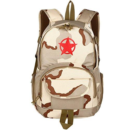 Outdoor zaino camouflage Camouflage double borsa a tracolla Borsa dello studente leisure Sport Viaggi zaino 45*28*16cm, deserto 20-35 litri Sam Sha