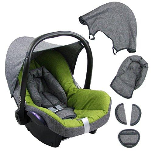 BambiniWelt Ersatzbezug für Maxi-Cosi CabrioFix 6 tlg. GRAU / HELLGRÜN *NEU* Bezug für Babyschale Sommerbezug Cabrio Fix