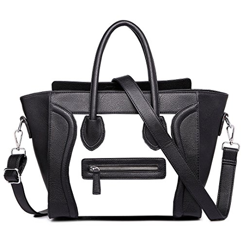 - 51hH6Dk8SgL - Women's Ladies Celebrity Designer Leather Tote Bag Smile Shoulder Handbag (Bl…  - 51hH6Dk8SgL - Deal Bags